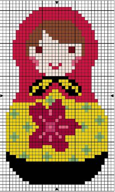 Free cross stitch pattern for Russian doll