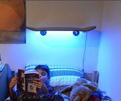 Skateboard shelf with LEDs underneath: rad.