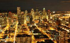 USA Washington  Seattle night skyscraper buildings