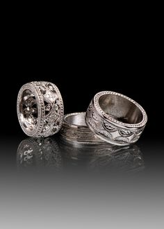 JPratt Designs: Black Rhodium plated Platinum and Diamond Wedding Bands