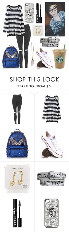 """""""Cool first day of school outfit"""" by madelynnlove ❤ liked on Polyvore featuring Topshop, MCM, Gypsy, Converse, Happy Plugs and LORAC"""