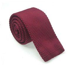 Wine Red  Knitted Ties.Mens Necktie.Wedding by HeySir on Etsy