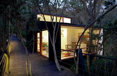 The Quebrada House is located along a creek on a forested site near Curacavi, Chile