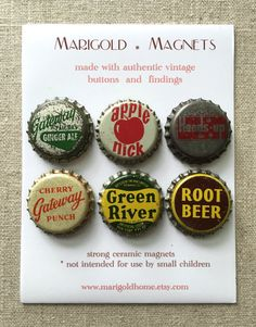 Vintage soda bottle cap magnets Boy's room strong by MarigoldHome