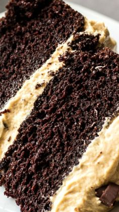 Chocolate Cake with Peanut Butter Frosting ~ Rich, moist, chocolatey cake topped with creamy, sweet peanut butter frosting