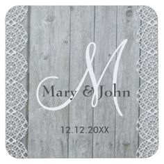 Rustic Wood And Lace Wedding Monogram Square Paper Coaster - barn wood gifts idea customize nature Monogram Coasters, Monogram Gifts, Monogram Initials, Monogram Letters, Rustic Gifts, Wood Gifts, Monogrammed Napkins, Wedding Coasters, Lace Weddings