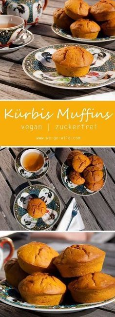 Juicy pumpkin muffins: vegan and no sugar - vegane Ernährung - Nutella recipes Pumpkin Dessert, Paleo Dessert, Healthy Dessert Recipes, Health Desserts, Vegan Recipes, Menu Halloween, Dessert Halloween, Vegan Pumpkin, Pumpkin Recipes