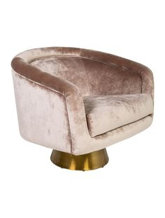 In Stores Now. Champagne velvet blend Jonathan Adler Bacharach swivel chair with gold-tone brushed brass base and brand plaque at underside. <br></br><br>For our oversize Art & Home items such as Furniture and Area Rugs, we provide a White Glove delivery service which includes in-room delivery, assembly and removal of packing materials. <b>Our deliveries typically take 4 to 6 weeks from the time the order is placed.</b></br>