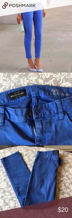 J. Crew jeans 💎 EUC J. Crew blue matchstick straight leg jeans in royal blue periwinkle color 💎 J. Crew Jeans Straight Leg