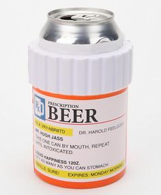 Prescription bottle medication name beer, beer can holder, funny a prescription rx for beer alcohol February 2015 Urban Outfitters, Can Holders, Gag Gifts, I Laughed, Haha, At Least, Alcohol, Just For You, Canning