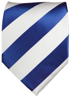 Navy and White Striped Paul Malone Silk Tie (405)