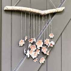 Blij om dit item uit mijn shop te delen: Lovely rustic romantic wallhanging with 26 pink porcelain flowers hanging down from a piece of driftwood. Driftwood, Etsy Shop, Ceramics, Flowers, Pink, Ceramica, Pottery, Ceramic Art, Royal Icing Flowers