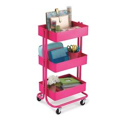 Find the Bright Pink Lexington 3-Tier Rolling Cart By Recollections™ at Michaels