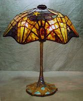 A lovely lamp from Tiffany, who in the late designed many with bat motifs. Cut Glass, Glass Art, Spider Lamp, Louis Comfort Tiffany, Stained Glass Lamps, Tiffany Glass, Studio Lighting, Glass Design, Pretty Cool