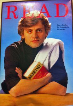 Ballet Dancer Mikhail Baryshnikov, 1985.  Reading Fyodor Dostoevsky's Crime and Punishment.  ALA Celebrity READ Campaign.