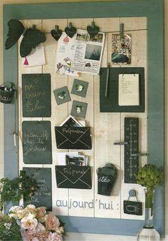 cadre tableau ardoise pense b te de cuisine porte boite clef cl s mural en bois upcycle ideas. Black Bedroom Furniture Sets. Home Design Ideas