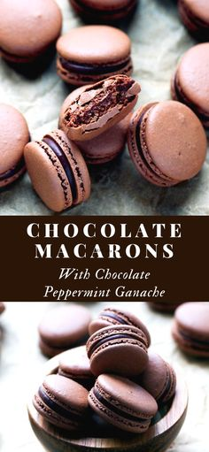 The Best Chocolate Macarons With Chocolate Peppermint Ganache Recipe – delicate chocolate macaron shells, glued together with smooth chocolate peppermint ganache. Macaron Nutella, Chocolate Macaroons, Chocolate Desserts, Peppermint Chocolate Cupcake Recipe, French Chocolate Macarons Recipe, French Macarons Recipe Flavors, Macaroons Flavors, Menta Chocolate, Homemade Chocolate