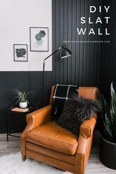 Black Accent Walls, Accent Walls In Living Room, Accent Wall Bedroom, Master Bedroom, Wood Slat Wall, Wood Slats, Diy Wand, Black Feature Wall, Feature Walls