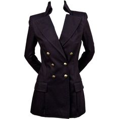 Preowned Balmain Navy Blue Tailored Blazer Jacket - New (5.920 BRL) ❤ liked on Polyvore featuring outerwear, jackets, blazers, blue, military blazer, balmain blazer, navy blue military jacket, balmain jacket and tailored blazer