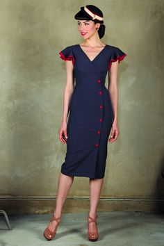 Stop Staring! - 50s Honor Pencil Dress in Navy and Red