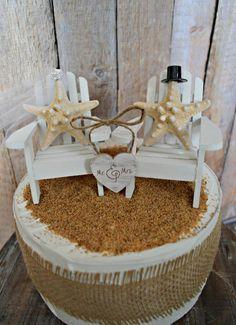 Starfish-Adirondack chair-wedding cake topper-beach wedding-Mr. and Mrs.-bride and groom-cake topper-destination wedding-beach wedding-chair