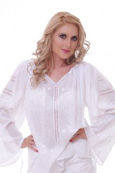 Ukraine, from Iryna Traditional Outfits, Bridal Dresses, Tunic Tops, Embroidery, Knitting, Pretty, White Blouses, Costume, Color