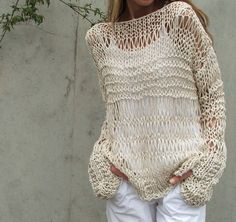cream cotton and linen summer sweater by ileaiye.