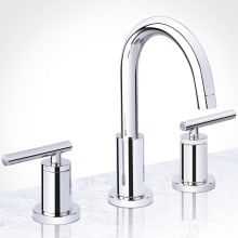 Miseno Mia GPM Widespread Bathroom Faucet with Push-Pop Drain Assembl Polished Chrome Faucet Bathroom Sink Faucets Double Handle Best Bathroom Faucets, Widespread Bathroom Faucet, Bathroom Fixtures, Master Bathroom, Bathroom Chrome, Bathroom Gray, Office Bathroom, Vanity Bathroom, Kitchen Faucets
