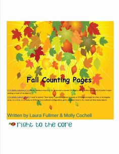 Fall Counting FREEBIE!  Click to print Common Core aligned activity sheets for Kindergartners' first weeks of school.