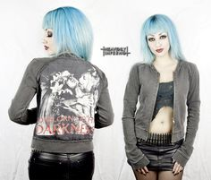Vintage CRADLE OF FILTH zip sweater hoodie top Goth backpatch print customised band t shirt  Punk Metal Hippie Rocker Rock distressed worn