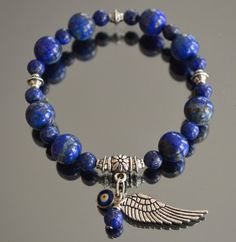 Top Quality Lapis Lazuli Charm Bracelet with Evil Eye by iyildiz, $29.00