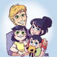 Adrienette family. I feel like one of the babies should have blonde hair and blue eyes. It's still adorable tho!