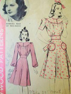Vintage Hollywood 466 Sewing Pattern, 1940s Dress Pattern, Day Dress Flared Skirt Gathered Yoke, Bust 34 Vintage Sewing 1940s Sewing Pattern
