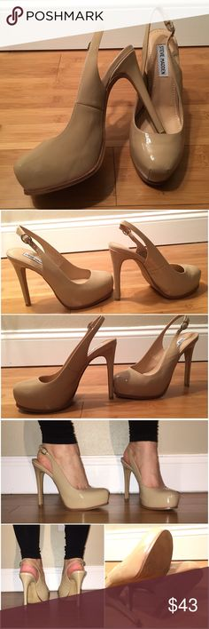 "Steve Madden Staciee Patent Heels Blush/nude patent platform pump. Adjustable sling back strap. Heel is approximately 5 1/4"" with a 1"" hidden platform. Leather upper, man made sole. Worn twice and in excellent condition. Some wear to bottom and leather. Pink coloring around bottom of leather near sole; there when purchased. Shown in last photo. Slightly tight in toe box. Will be shipped in original box. Steve Madden Shoes Heels"