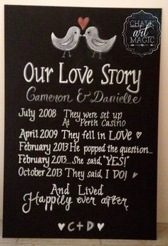Our Love Story Love Birds Chalkboard Sign. by ChalkArtMagic, $100.00