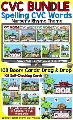 The 108 Nursery Rhyme themed Boom Cards Bundle will reinforce students' understanding of spelling CVC short vowel words. This bundle targets students' visual skills in addition to their knowledge of spelling CVC short vowel words. Spelling Word Activities, Rhyming Words, Spelling Words, Jolly Phonics, Teaching Phonics, Nursery Rhyme Theme, Nursery Rhymes, Social Studies Resources, Teaching Resources