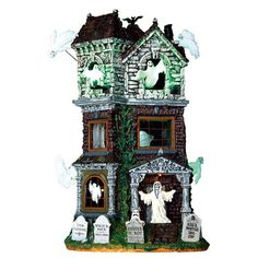 Lemax 65122 Ghostly Manor. This haunted house is filled with nothing but spookiness and fright. With flying ghosts and an eerie soundtrack, this piece is perfect for any Halloween fan! Approx. size (H x W x D) 12.80 x 6.50 x 6.69 inches 32.5 x 16.5 x 17 cm Year Released: 2017 Made of: Porcelain Polyresin Blend Product type: Sights & Sounds C Halloween Haunted Houses, Halloween House, Halloween Art, Halloween Decorations, Halloween Stuff, Halloween Queen, Halloween 2016, Happy Halloween, Halloween Costumes