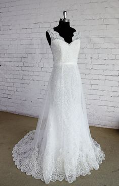 V Neck Floor Length French Lace Wedding Dress