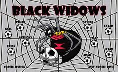 Black Widows B55120  digitally printed vinyl soccer sports team banner. Made in the USA and shipped fast by BannersUSA.  You can easily create a similar banner using our Live Designer where you can manipulate ALL of the elements of ANY template.  You can change colors, add/change/remove text and graphics and resize the elements of your design, making it completely your own creation.