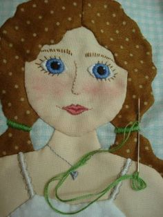 """Bee In My Bonnet: A close up of her applique and embroidery on her quilt pattern """"Paper Dolls"""""""