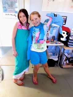 Original dress and dolphin hand puppet made by Sew It! students at Creative Arts Inc.