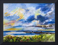 """Florida+Ocean+Pier+at+Juno+Beach+Sunrise""+by+Ginette+Callaway,+Lovejoy+//+Mixed+media+painting+Watercolor,+Ink+Acrylic+and+Pastel.Juno+Beach+Florida+Pier+is+990+Feet+long.+Contact+Ginette+if+you+are+interested+in+the+original+or+similar.+For+Commission+requests+go+to+ginettecallaway.com+//+Imagekind.com+--+Buy+stunning+fine+art+prints,+framed+prints+and+canvas+prints+directly+from+independent+working+artists+and+photographers."