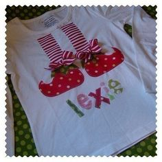 Santa's Little Helper Elf Applique Christmas Shirt in Michael Miller Polka Dots 12m 18m 24m 3T 4T 5T 6 6x 7 8. $24.00, via Etsy.