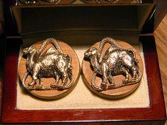 Vintage SWANK Linkwoods Camel Cufflinks