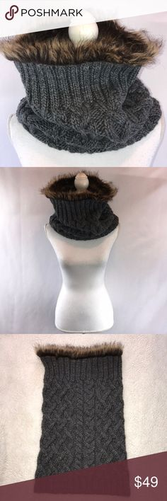 Athleta Vincent Pradier Faux Fur Wool Blend Scarf Athleta Vincent Pradier Gray Brown Chunky Knit Faux Fur Wool Blend Scarf Cozy on cold winter nights this is the perfect stylish scarf 22 inches in length Athleta Accessories Scarves & Wraps