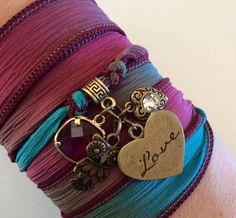 Silk wrap charm bracelet by EmilieMareeJewellery on Etsy,