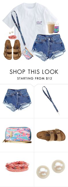 """DIY-ing some jean shorts today"" by aweaver-2 on Polyvore featuring Lilly Pulitzer, Birkenstock, Aid Through Trade and Honora"