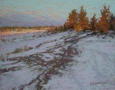 Distant Light by Barbara Jaenicke Pastel ~ x Pastel Landscape, Winter Landscape, Abstract Landscape, Nature Paintings, Landscape Paintings, Pastel Paintings, Abstract Paintings, Abstract Art, Painting Snow