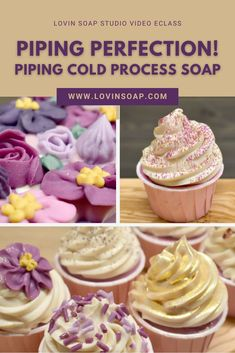 Piping soap is a lot of fun! Learn to create beautiful handmade cold process soap cupcakes with 12 different frosting designs in this video design tutorial eclass! Formulate a piping recipe with the perfect consistency for frosting. You will also learn how to create piped flowers for loaf and cupcake toppings. Add new soap design techniques to your skillset! Cupcake Icing Designs, Diy Bath Soaps, Cupcake Toppings, Cupcake Soap, Shea Butter Soap, Cold Process Soap, Soap Recipes, Home Made Soap, Soaps