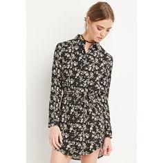 BLACK FLORAL SHIRT DRESS NWT! Forever 21 Dresses Mini